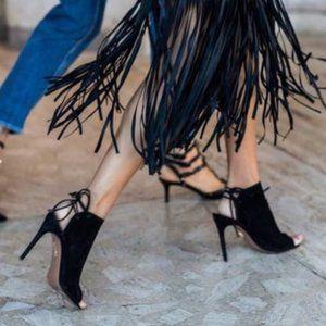 AQUAZZURA Mid-Heel Suede Sandals Heels